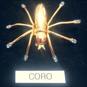 Vintage Rhinestone CORO Spider pin